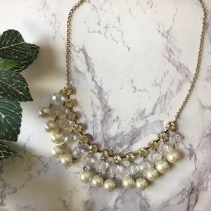 Charming Charlie | Diamond & Pearl Drop Necklace